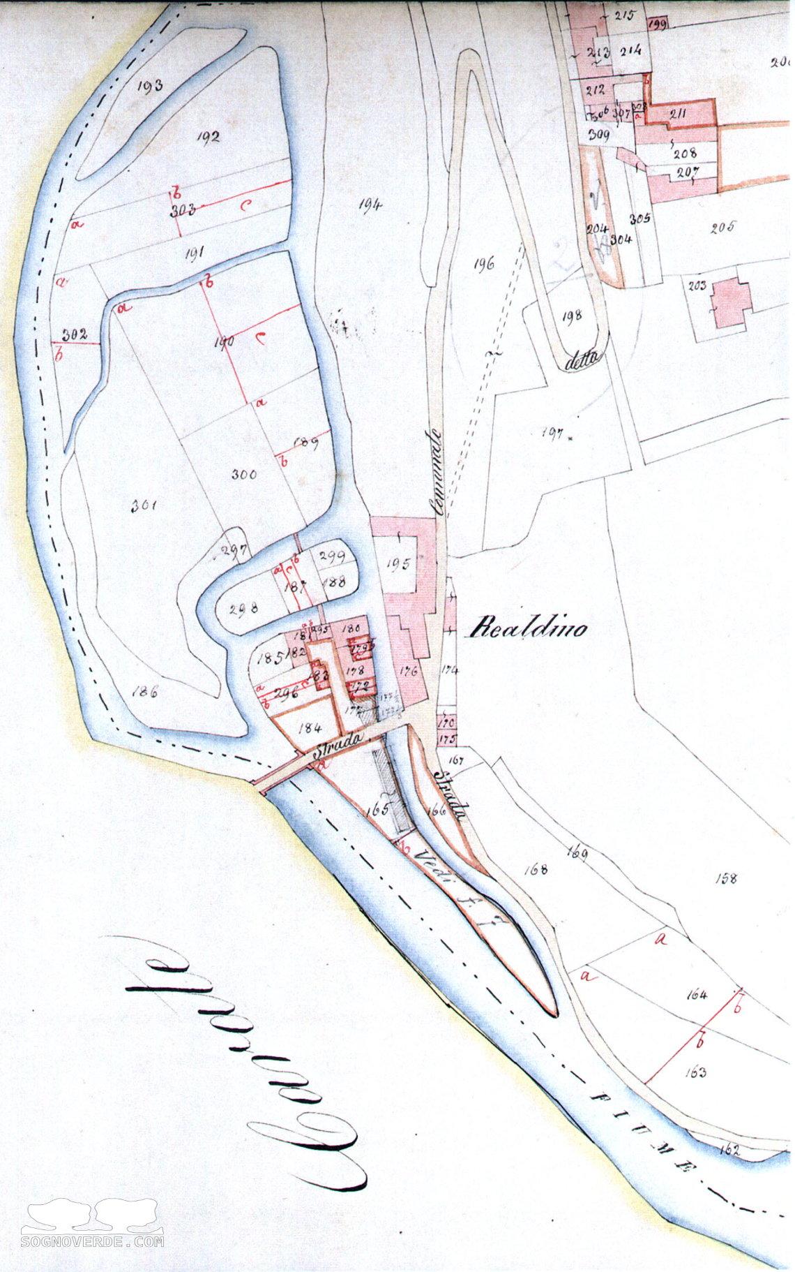 Mappa di Realdino del 1857