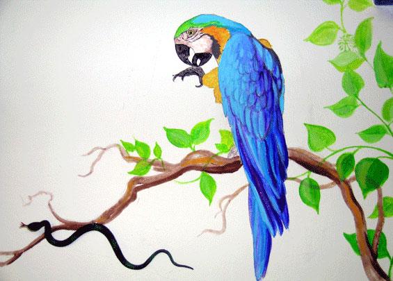 Decorazione interni pappagallo